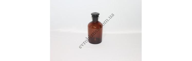 Бутель для реактивів 250мл з пришліфованою пробкою вузьке горло темне скло