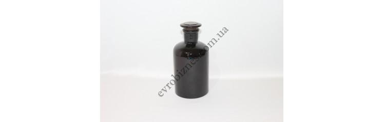 Бутель для реактивів 500мл з пришліфованою пробкою вузьке горло темне скло