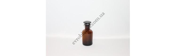Бутель для реактивів 60мл з пришліфованою пробкою вузьке горло темне скло
