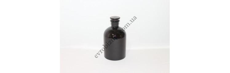 Бутыль для реактивов, 1000мл, с пришлифованной пробкой, узкое горло, темное стекло
