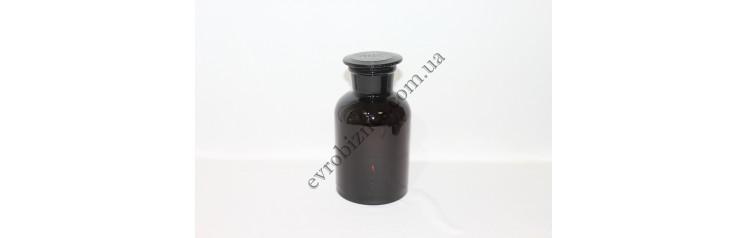 Бутель для реактивів 1000мл з пришліфованою пробкою широке горло темне скло