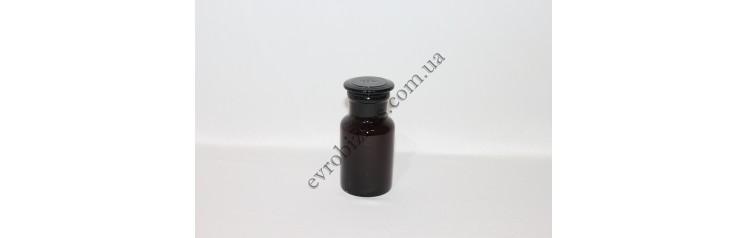 Бутель для реактивів 125мл з пришліфованою пробкою широке горло темне скло
