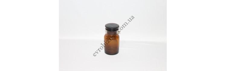 Бутель для реактивів 60мл з пришліфованою пробкою широке горло темне скло