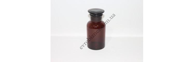Бутель для реактивів 500мл з пришліфованою пробкою широке горло темне скло